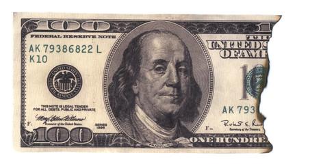 burned 100 dollars banknote