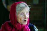 surprised elderly lady poster
