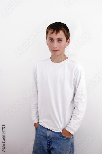 teenage boy on white background