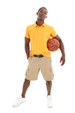 casual man with basket ball poster