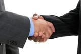 close up businessmen shaking hands poster