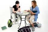 tween girls doing homework after school poster
