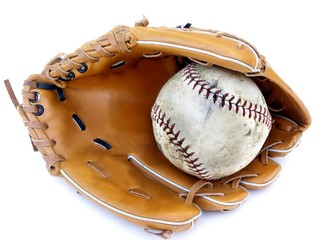 worn glove and ball