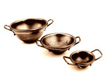 three copper cooking bowls poster