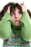 close up of beautiful teen girl in green sweater poster