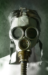 portrait in gas mask