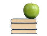 books and green apple poster