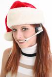 customer service rep in santa hat poster