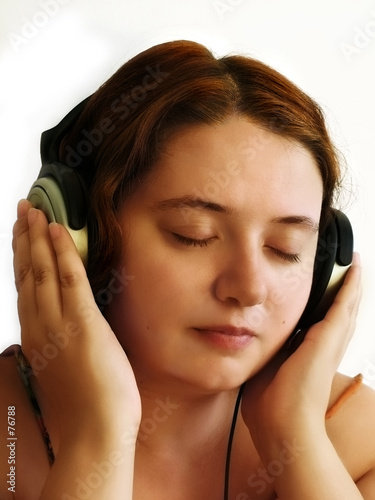 poster of girl with wireless headphones