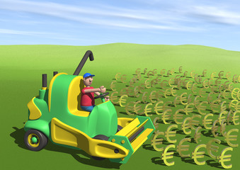 toy-like farmer in 3d reaping a field of euro