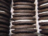 rows of chocolate sandwich cookies poster