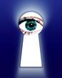 blue eye looking thru a keyhole