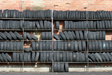 wall of tires poster