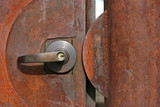 rusty door with lock poster