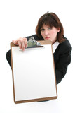 beautiful young businesswoman with clip board poster