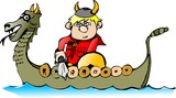 boy viking in a boat poster