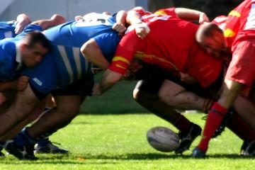 rugby mélée
