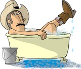 cowboy in a bathtub poster