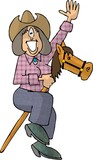 stick horse cowgirl poster