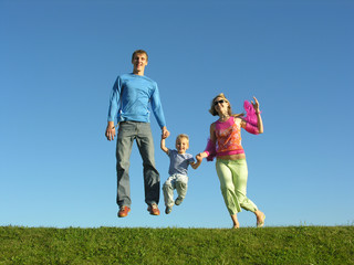 fly happy family on blue sky 2