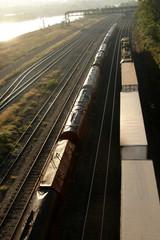 trains under bridge