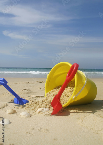 beach bucket and spades.
