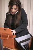 multi tasking - busy businesswoman poster