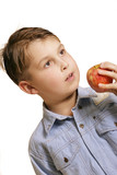 boy holding an apple poster