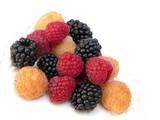 raspberries and blueberries