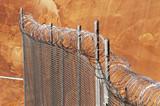 razor wire fence. poster
