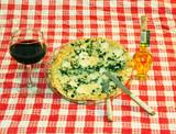 pizza, wine, olive oil poster
