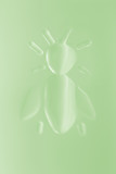 green pressed glass honey bee poster