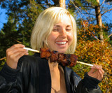 smiling girl with shashlik poster