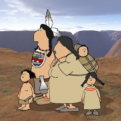 native american family with desert background