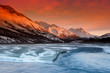 canvas print picture sunset colors of the alaska range