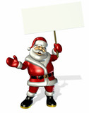 santa claus holding a blank sign poster