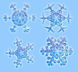 four 3d snowflakes poster
