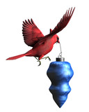 cardinal carrying christmas ornament poster