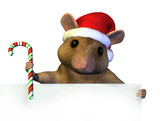 christmas mouse with edge of blank sign poster