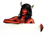 devil woman with sign edge poster