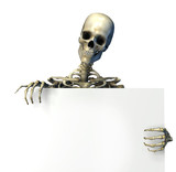 skeleton with blank sign edge poster