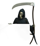 grim reaper with sign edge poster