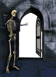 skeleton with gate poster