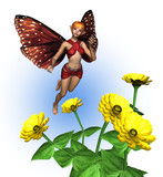 fairy with zinnias poster