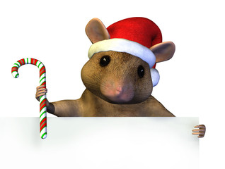 christmas mouse with edge of blank sign