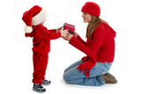 toddler boy giving present to young woman poster