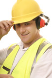 friendly tradesmen tipping his hat poster