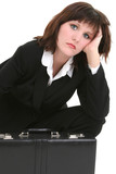 tired businesswoman with briefcase poster
