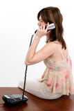 beautiful young hispanic woman on phone poster