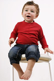 toddler on a  stool poster